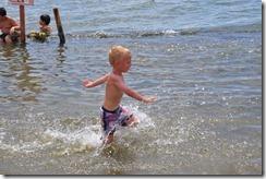 Joni running in sea