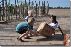 children playing with box