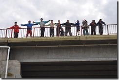 kids on a bridge