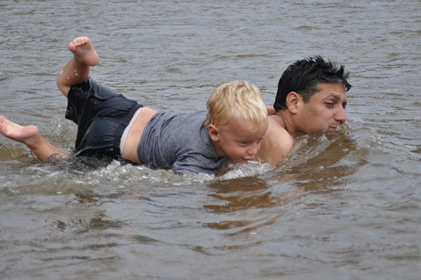 Joni and Sergio in river