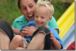 Hazel and Joni on slide