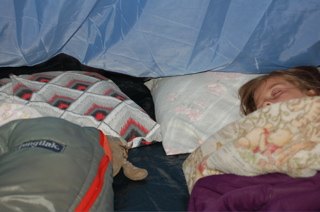 Girls sleeping in the tent