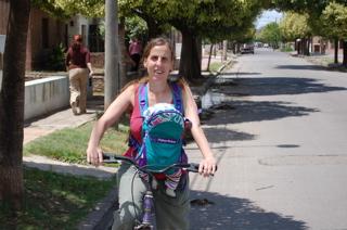Hazel and Joni on bike