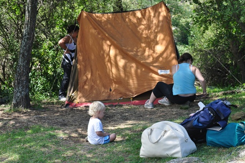 Pitching tent