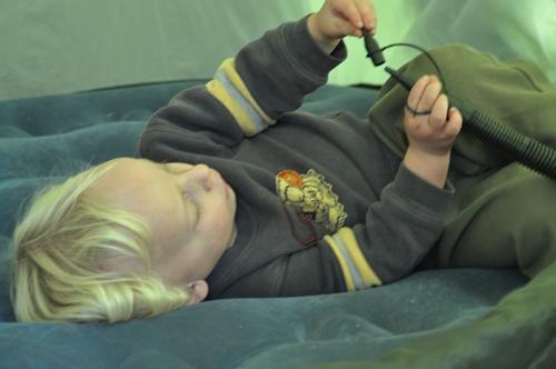Joni lying on air mattress