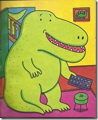 dinosaur holding remote control