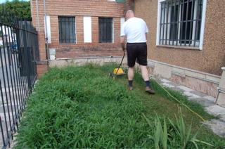 Martin cutting the grass
