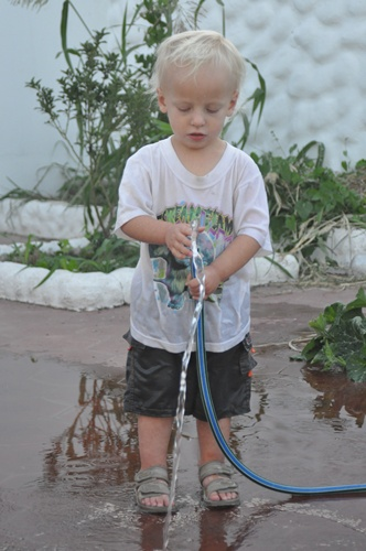 Joni with hose
