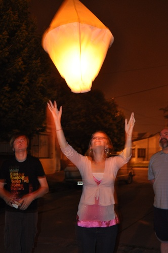setting off tissue paper lantern
