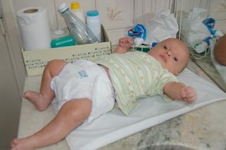 Joni modelling cloth nappy